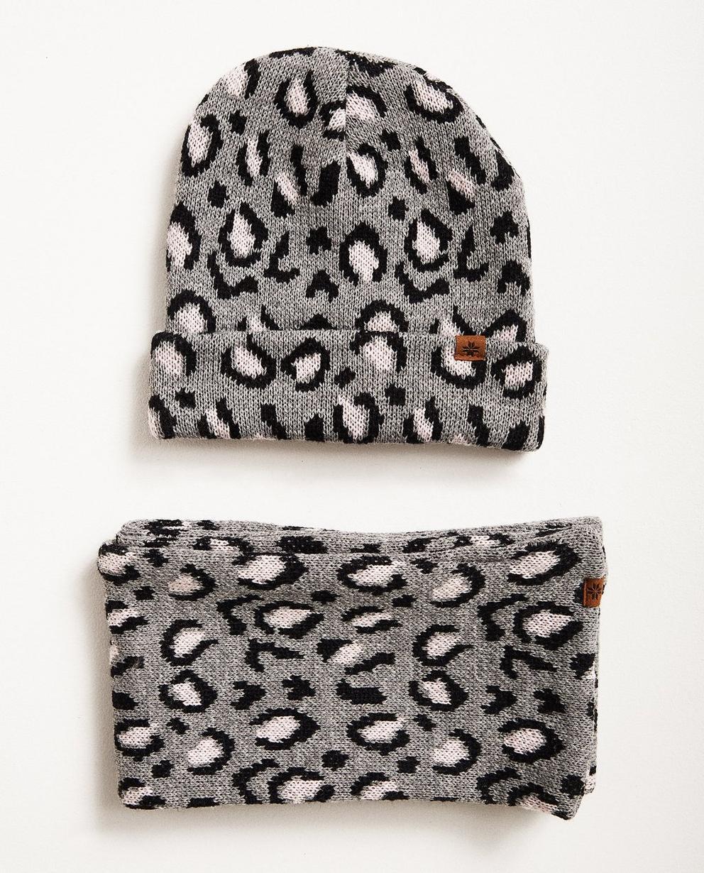 Set aus Schal und Mütze - mit Leopardenprint, Hellgrau - JBC